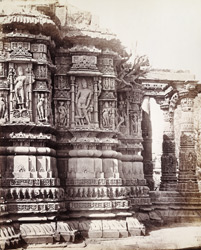 Close view of sculpture on façade of the south-east elevation of the Gudha Mandapa of the Surya Temple, Modhera 1905
